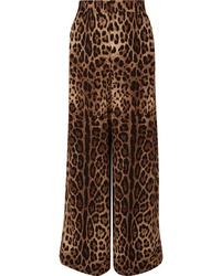 Dolce & Gabbana Leopard Print Wide Leg Pants