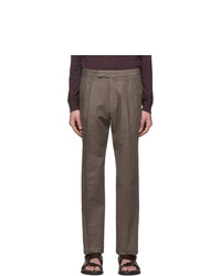 Ermenegildo Zegna Brown Linen Straight Trousers