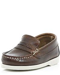 River Island Mini Boys Brown Smart Loafers