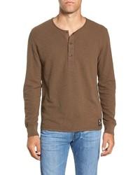 Brown Long Sleeve Henley Shirt