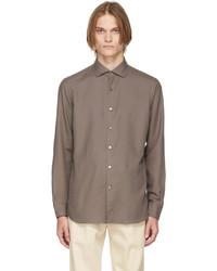 Ermenegildo Zegna Brown Cashco Shirt