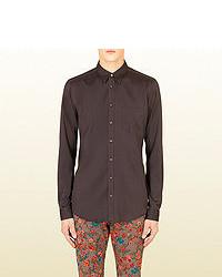 Gucci Brown Silk Twill Classic Shirt