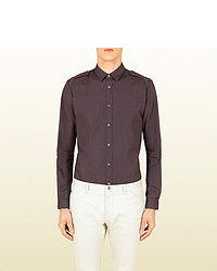 Gucci Light Brown Poplin Military Shirt