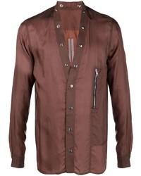 Rick Owens Long Sleeve Collarless Shirt