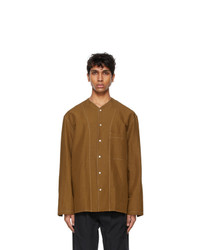 Lemaire Tan Linen V Neck Shirt