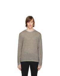 Z Zegna Brown Linen Long Sleeve T Shirt