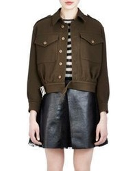 Saint Laurent Belted Crop Bomber Jacket Green