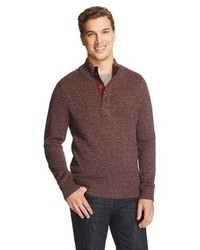 Merona Button Mock Neck Sweater Pomegranate Tm