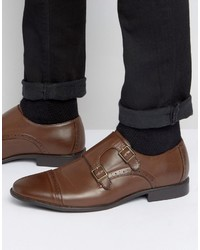 Asos Monk Shoes In Brown With Brogue Detailing