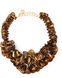 Brown mother of pearl cluster necklace medium 59449