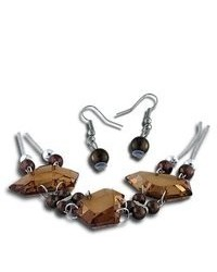 VistaBella Fashion Brown Bead Large Crystal Necklace Earring Set