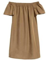 Brown Off Shoulder Dress