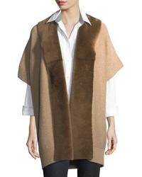Lafayette 148 New York Shearling Fur Trimmed Oversized Cardigan