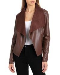 Bagatelle Drape Faux Leather Faux Suede Jacket
