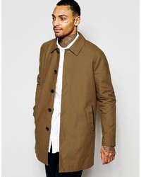 Asos Brand Shower Resistant Single Breasted Trench Coat In Tobacco