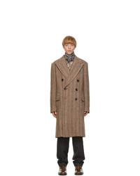 Dries Van Noten Brown Wool And Alpaca Double Breasted Coat