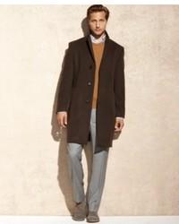 Calvin Klein Coat Brown Texture Plaza Cashmere Blend Overcoat