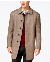 Lauren Ralph Lauren Jake Tan And Brown Herringbone Classic Fit Overcoat