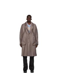 Kiko Kostadinov Taupe And Grey Bindra Coat