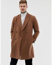 ASOS DESIGN Wool Mix Double Breasted Overcoat In Dark Camel