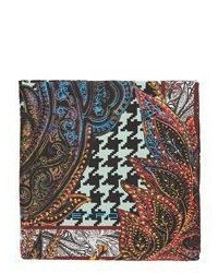 Etro Houndstooth Paisley Pocket Square Multi