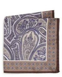 Ike Behar Paisley Silk Pocket Square
