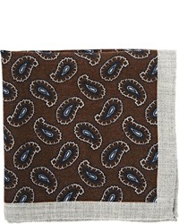 Barneys New York Paisley Twill Pocket Square Grey