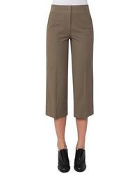 Akris Punto Madison Seersucker Cropped Straight Leg Pants Taupe