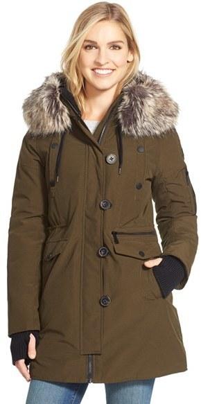 Bcbg faux fur long parka jacket