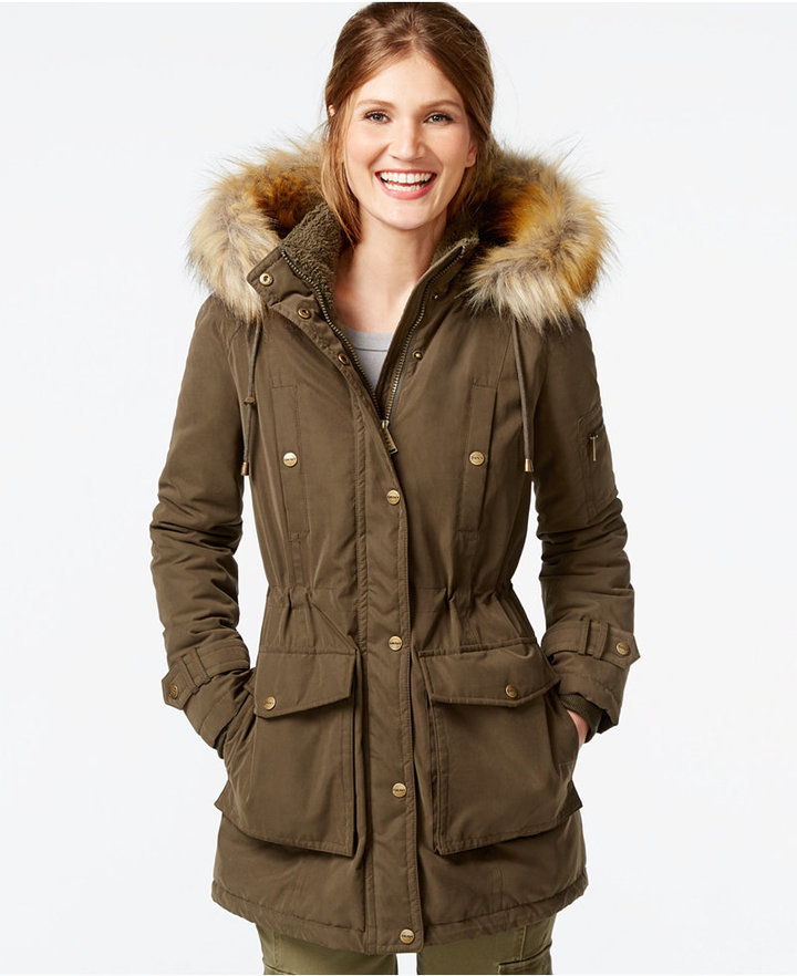 best shoes beauty exclusive shoes DKNY Faux Fur Trim Hooded Parka, $200 | Macy's | Lookastic.com
