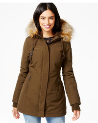DKNY Faux Fur Trim Water Resistant Hooded Parka