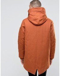 Converse Hooded Fishtail Parka Coat In Brown 10001185 A05 | Where ...
