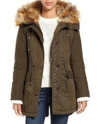 Hooded parka with faux fur trim medium 785449