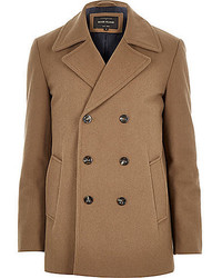 River Island Brown Smart Wool Blend Pea Coat