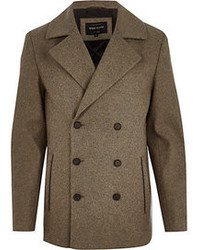 River Island Brown Smart Wool Pea Coat