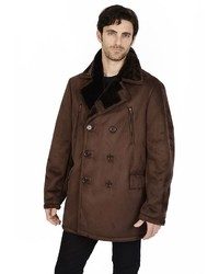 Excelled faux shearling pea coat medium 350591