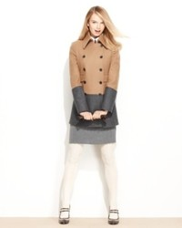 Nine west coat wool blend colorblock pea coat medium 453186