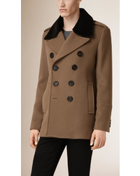 Burberry Virgin Wool Cashmere Pea Coat With Rabbit Fur Collar