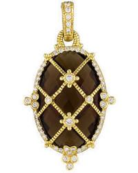 Judith Ripka Diamond Cage Smoky Quartz Pendant