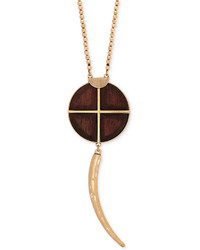 Lucky Brand Gold Tone Wood Pendant Necklace
