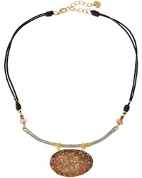 Nakamol Leather Agate Druzy Pendant Necklace