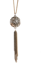 Necklace silver tone openwork tassel pendant medium 227173