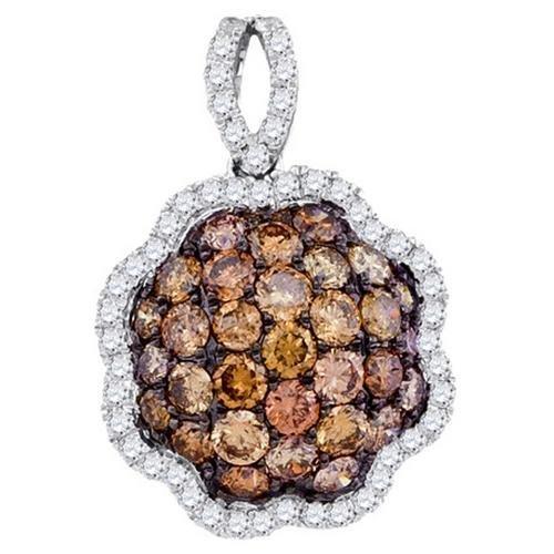 SEA Of Diamonds 181ct Dia Brown Diamond Flower Pendant