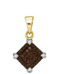 Sterling silver Ladies 10k Yellow Gold 015 Ctw Brown Diamond Micro Pave Pendant