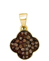Sterling silver Ladies 10k Yellow Gold 025 Ctw Brown Diamond Micro Pave Pendant