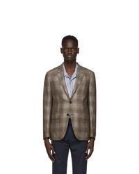 Ermenegildo Zegna Grey Silk And Cashmere Check Blazer
