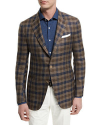 Large check two button sport coat brownnavy medium 659792