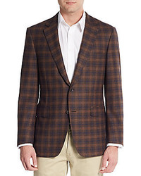 Regular fit plaid wool sportcoat medium 364577