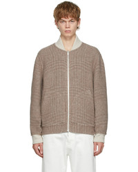 Brunello Cucinelli Beige Brown Check Wool Bomber Jacket