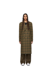 R13 Green Plaid Double Breasted Coat